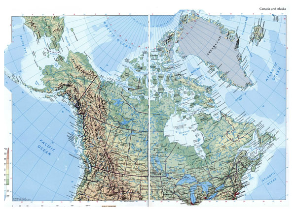 Large elevation map of Canada and Alaska with roads and cities.