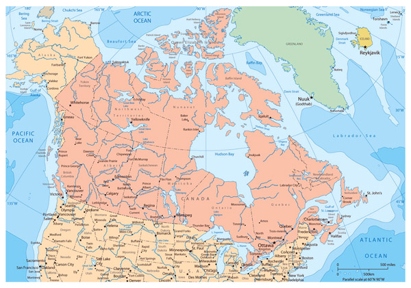 Large political and administrative map of Canada with major cities.