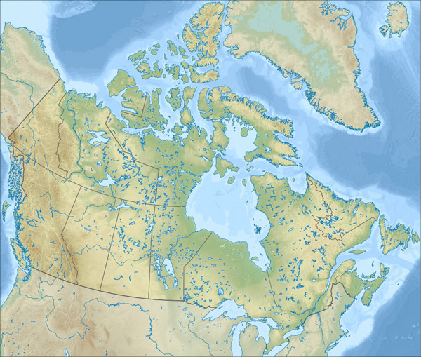 Large relief map of Canada. Canada large relief map.