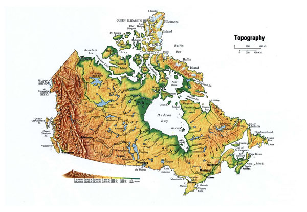 Large topographical map of Canada. Canada large topographical map.