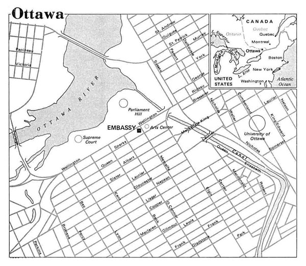 Detailed road map of central part of Ottawa.