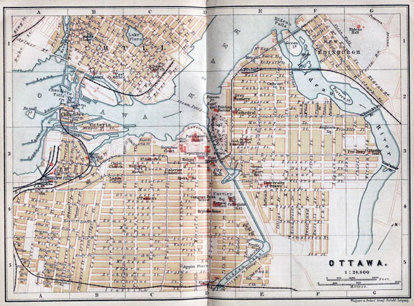 Large old road map of Ottawa - 1894. Ottawa large old road map.