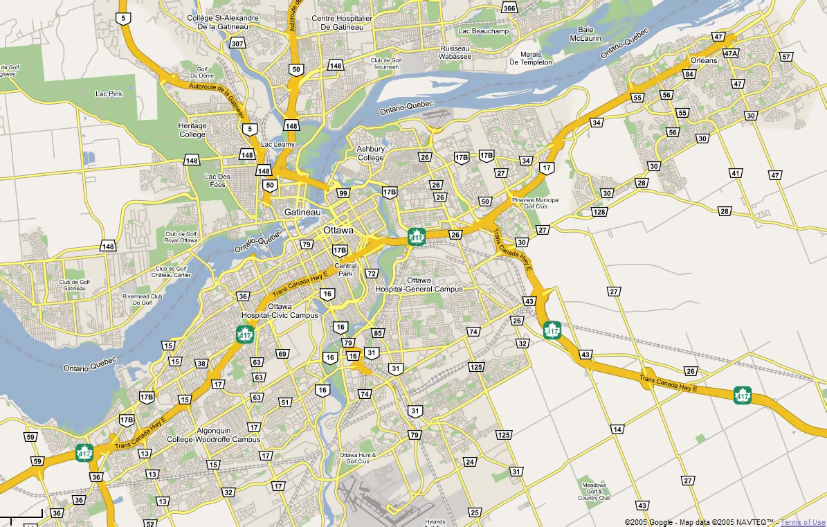 Street map Ottawa Canada