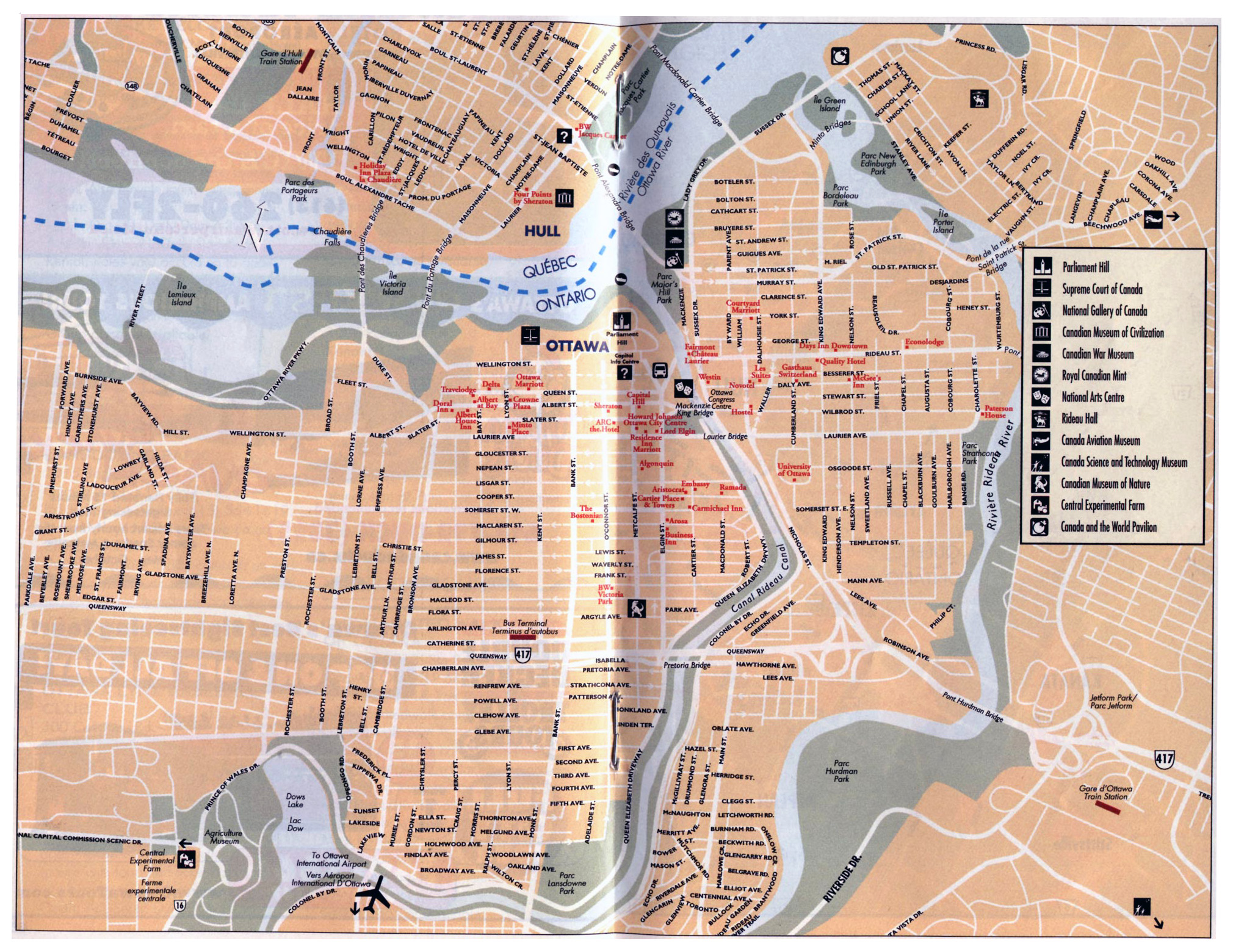 Large tourist map of Ottawa city Ottawa large tourist map Vidiani