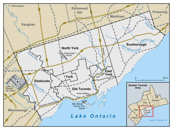 Large administrative subdivisions map of Toronto.