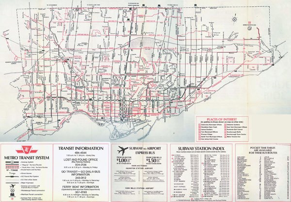 Large detailed map of Toronto city - 1972.