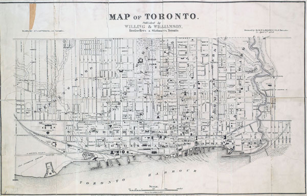 Large detailed old map of Toronto city - 1878.