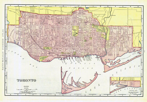 Large detailed old road map of Toronto - 1894.