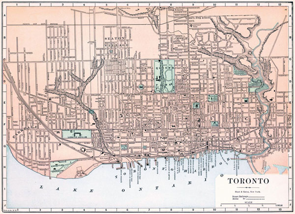Large detailed old road map of Toronto city - 1893.