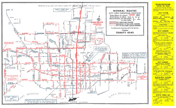 Toronto city large detailed old transit system map - 1952.