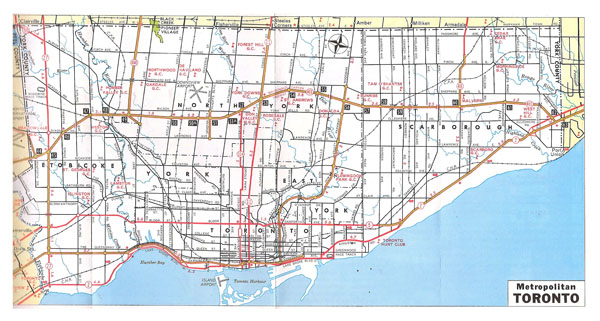 Large detailed road and metropolitan map of Toronto - 1970.