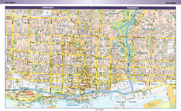 Large detailed road map of central part of Toronto city.
