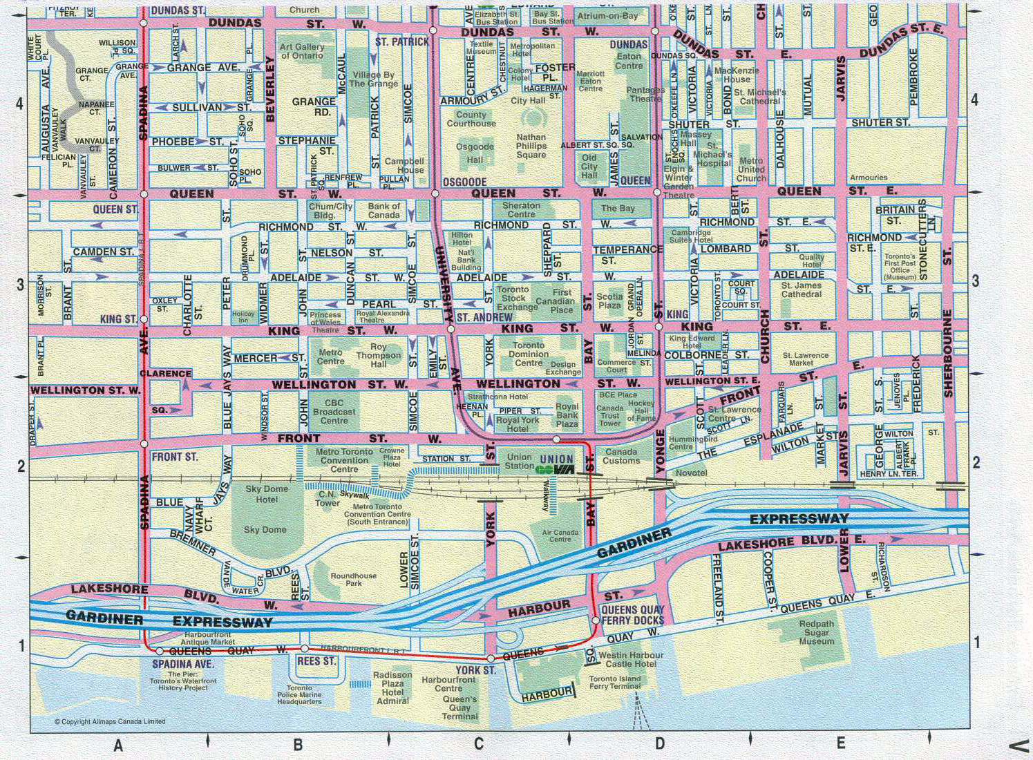 Large detailed tourist map of downtown of Toronto city | Vidiani