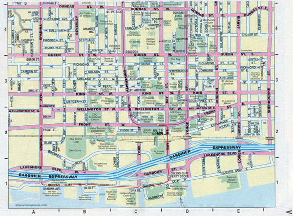 Large detailed tourist map of downtown of Toronto city.