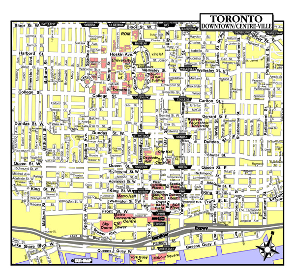 Large detailed tourist map of Toronto city downtown.