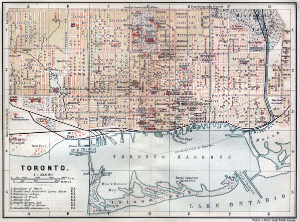 Toronto large old road map - 1894. Old map of Toronto.