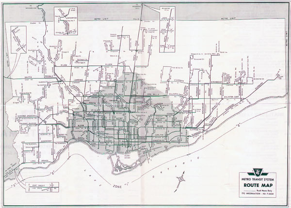 Toronto large old route map - 1962. Old map of Toronto.