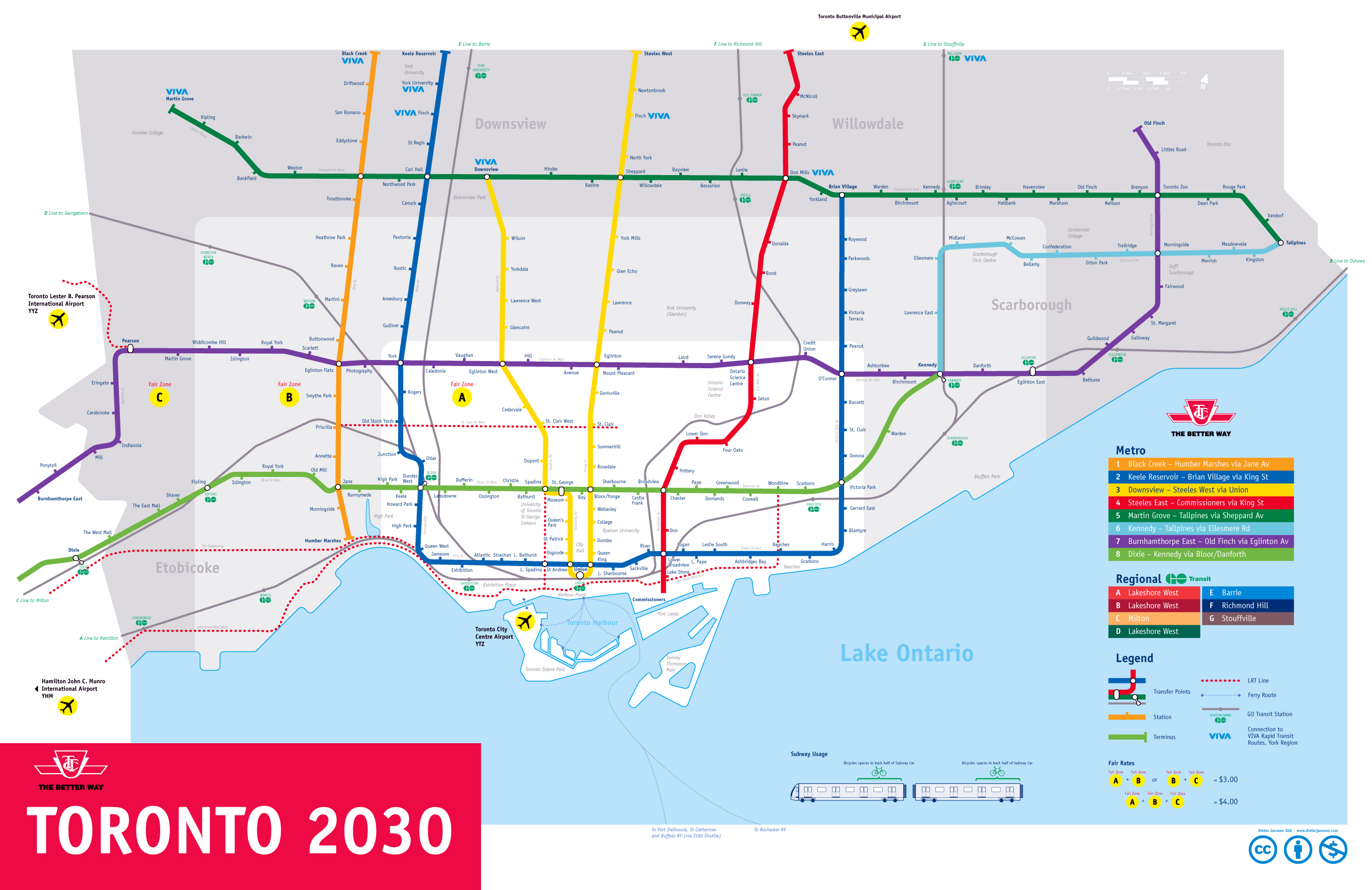 Toronto Subway Map Print.Large Subway Map Of Toronto 2030 Toronto Large Subway Map