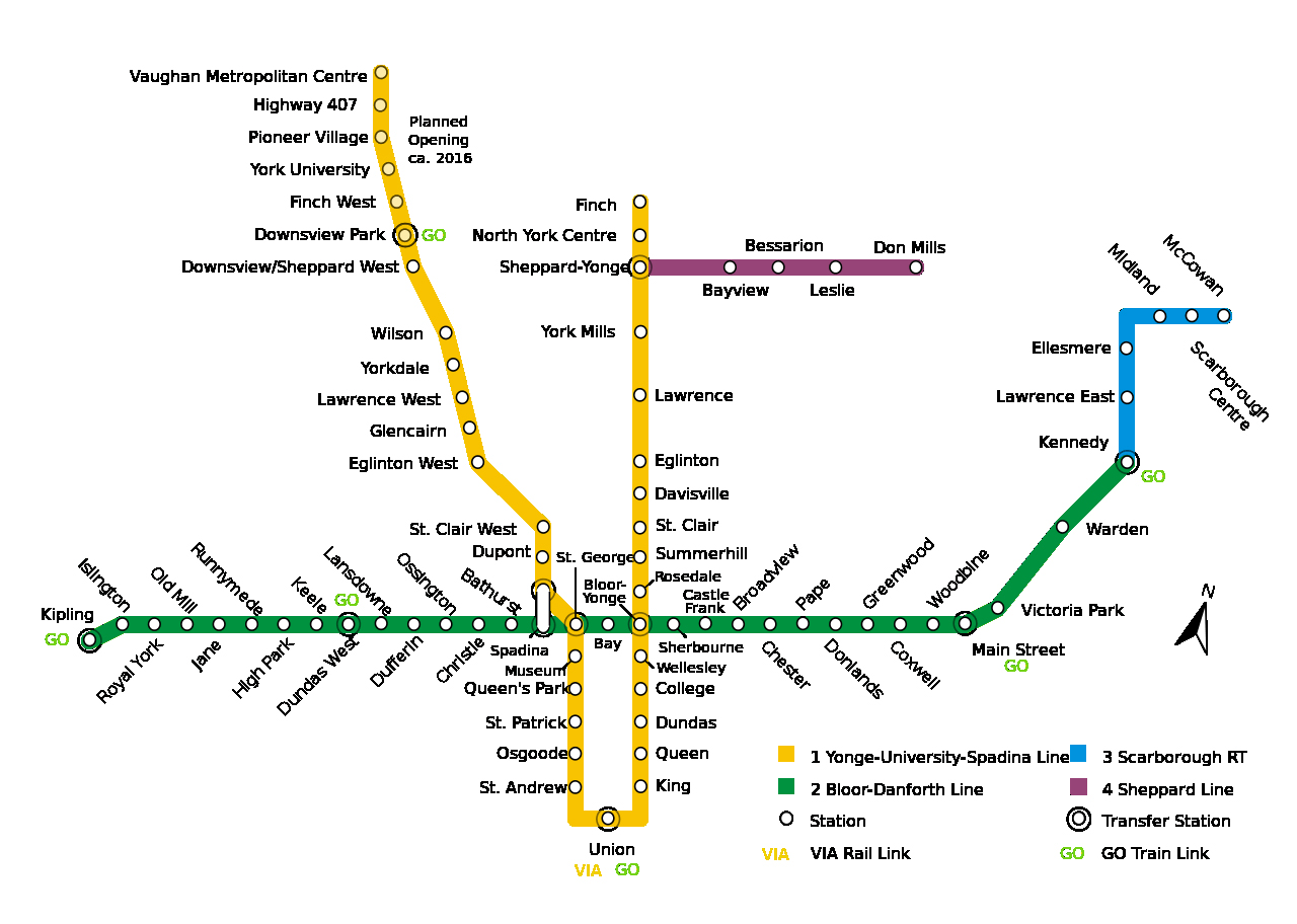 Toronto Subway Map.Large Subway Map Of Toronto City Toronto Large Subway Map Vidiani