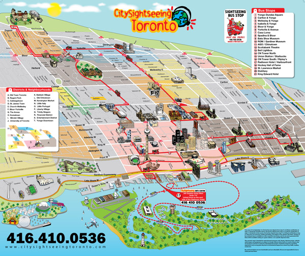 Large tourist panoramic map of Toronto city.