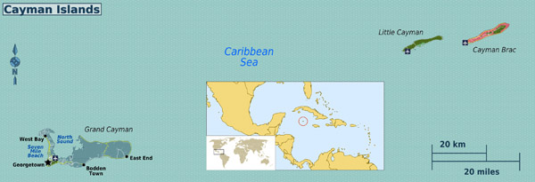 Detailed political map of Cayman Islands. Cayman Islands detailed political map.