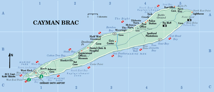 Detailed road map of Cayman Brac Cayman Brac detailed road map