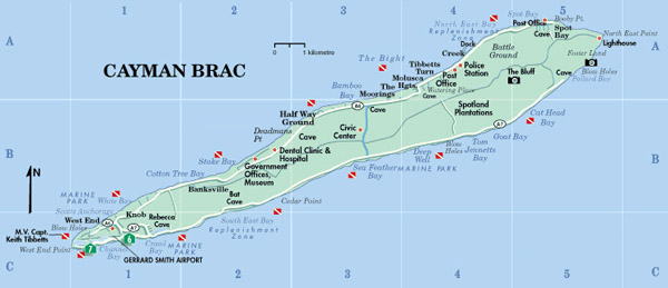Detailed road map of Cayman Brac. Cayman Brac detailed road map.