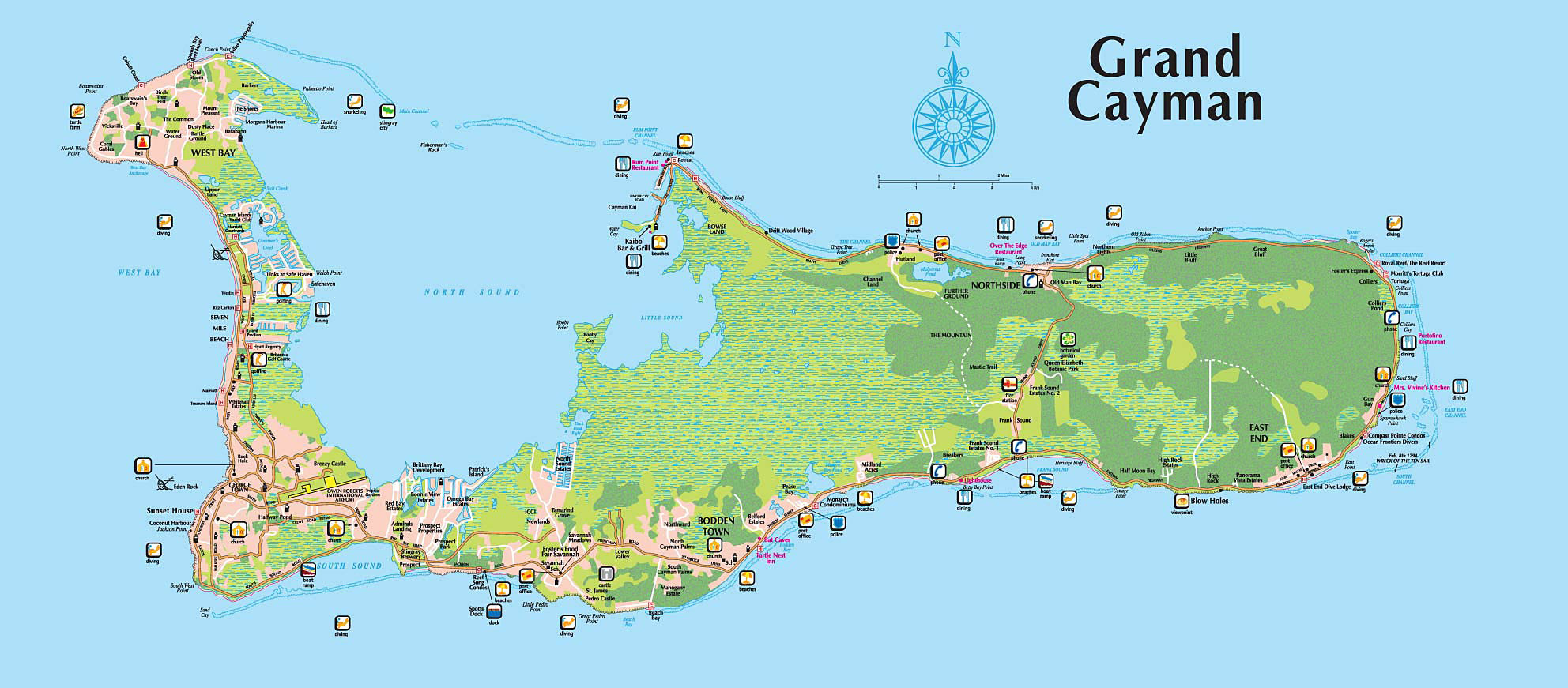 Road Map Of The Cayman Islands