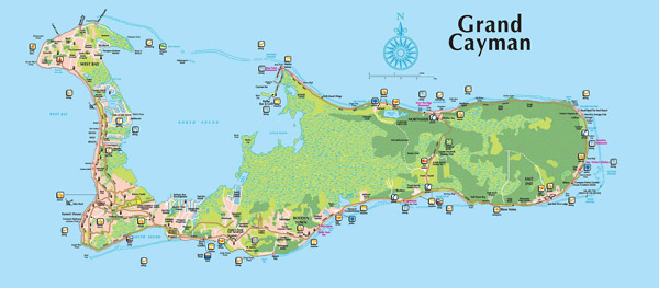Detailed tourist and road map of Grand Cayman Island.