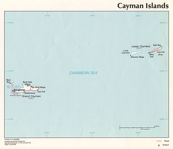 Large detailed political map of Cayman Islands.