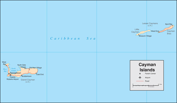 Large detailed political map of Cayman Islands with cities and airports.