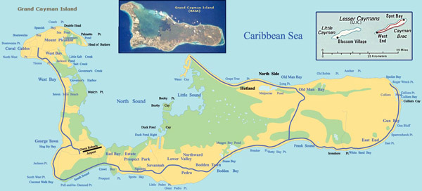 Large detailed road and topographical map of Grand Cayman Island.