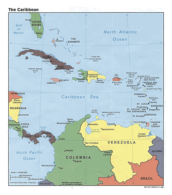Detailed political map of the Caribbean - 1988.