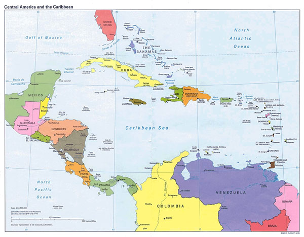 Large detailed political map of Central America and the Caribbean with major cities and capitals - 1995.