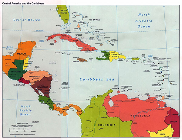 Large detailed political map of Central America and the Caribbean with major cities and capitals - 1997.