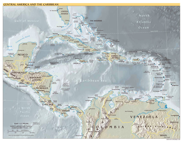 Large detailed political map of Central America and the Caribbean with relief - 1999.