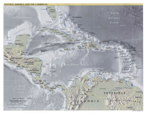 Large detailed political map of Central America and the Caribbean with relief - 2001.