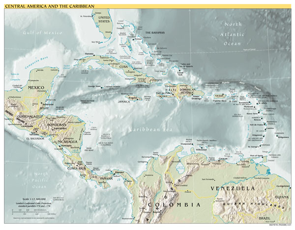 Large detailed political map of Central America and the Caribbean with relief, major cities and capitals - 2001.