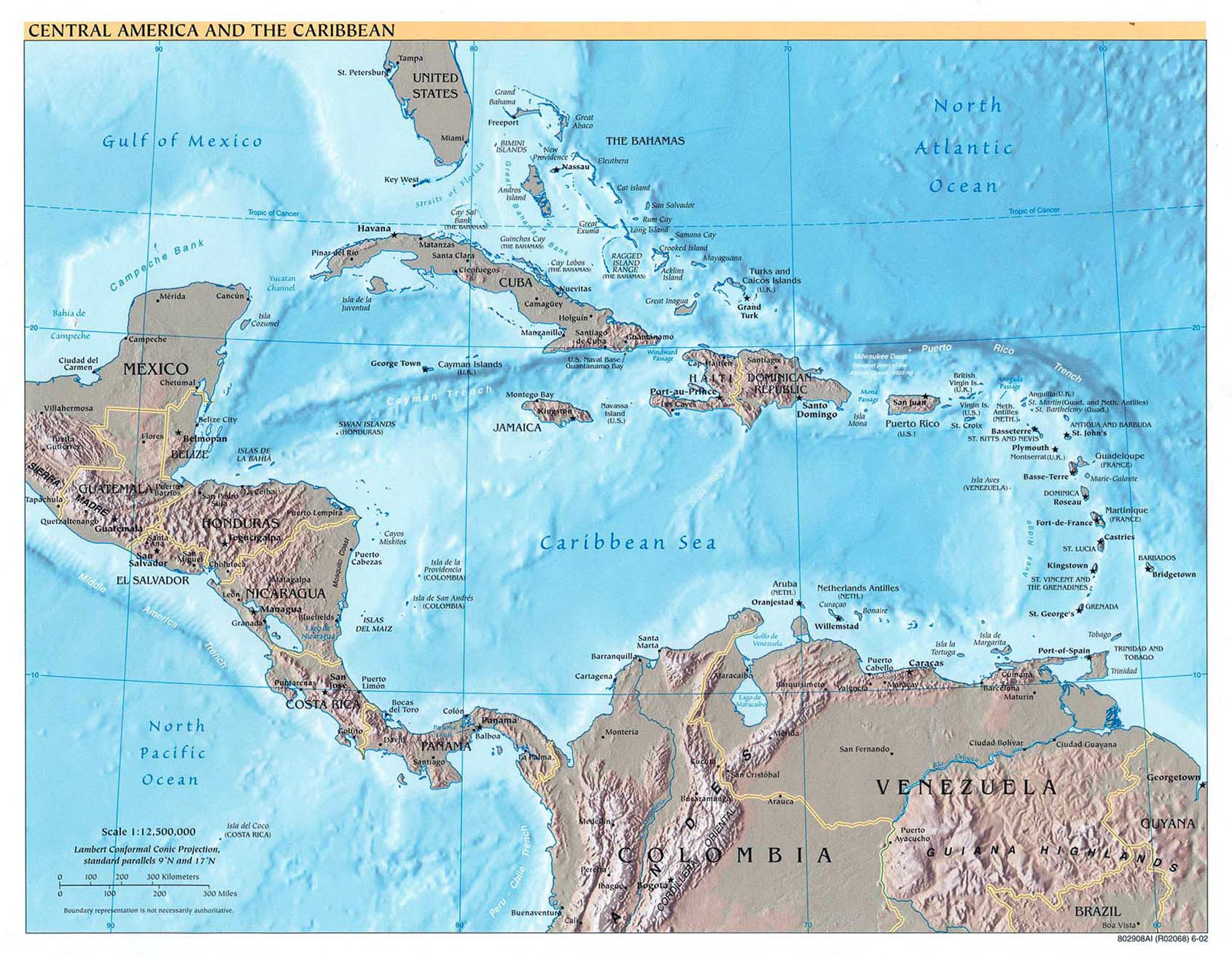 Large detailed political map of Central America and the Caribbean ...