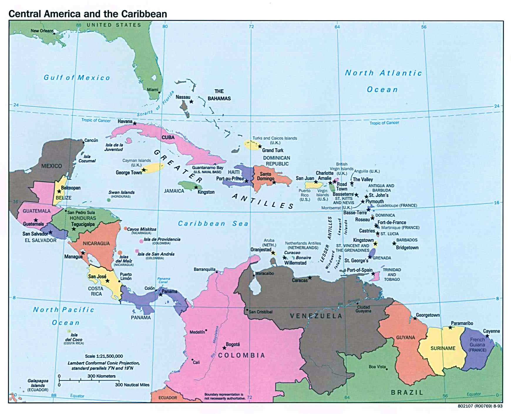 Large political map of Central America and the Caribbean 1993