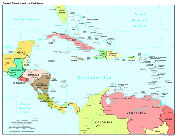 Large scale political map of Central America and the Caribbean with capitals - 1997.