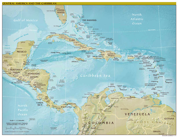 Large scale political map of Central America and the Caribbean with relief - 2012.