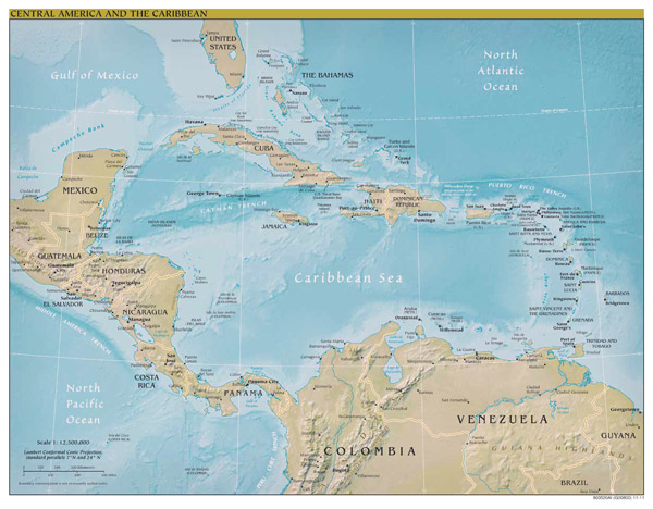 Large scale political map of Central America and the Caribbean with relief and capitals - 2011.