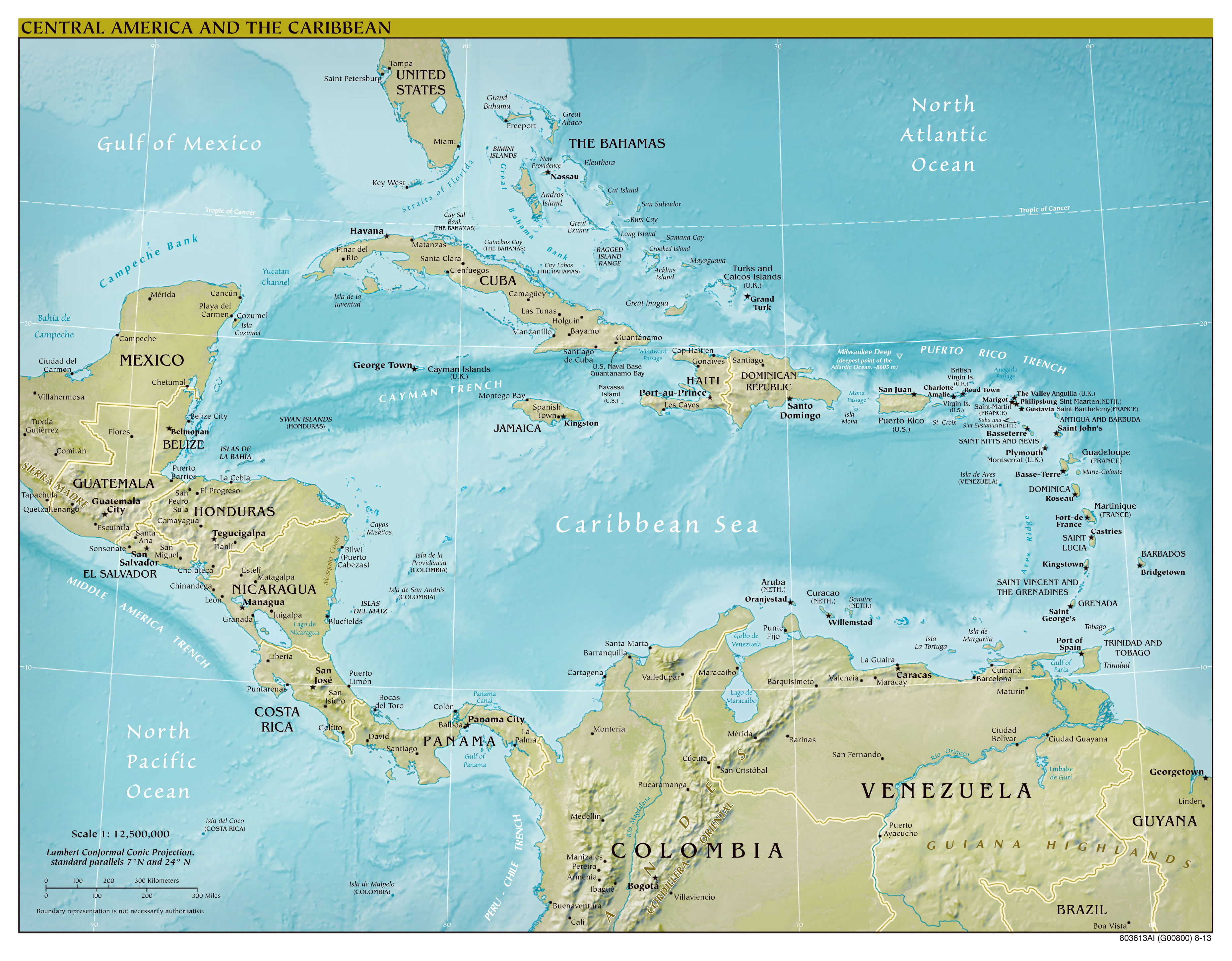 Large Scale Political Map Of Central America And The Caribbean With Relief Capitals And Major Cities 2013 Vidiani Com Maps Of All Countries In One Place