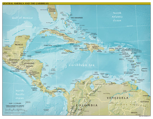 Large scale political map of Central America and the Caribbean with relief, capitals and major cities - 2013.