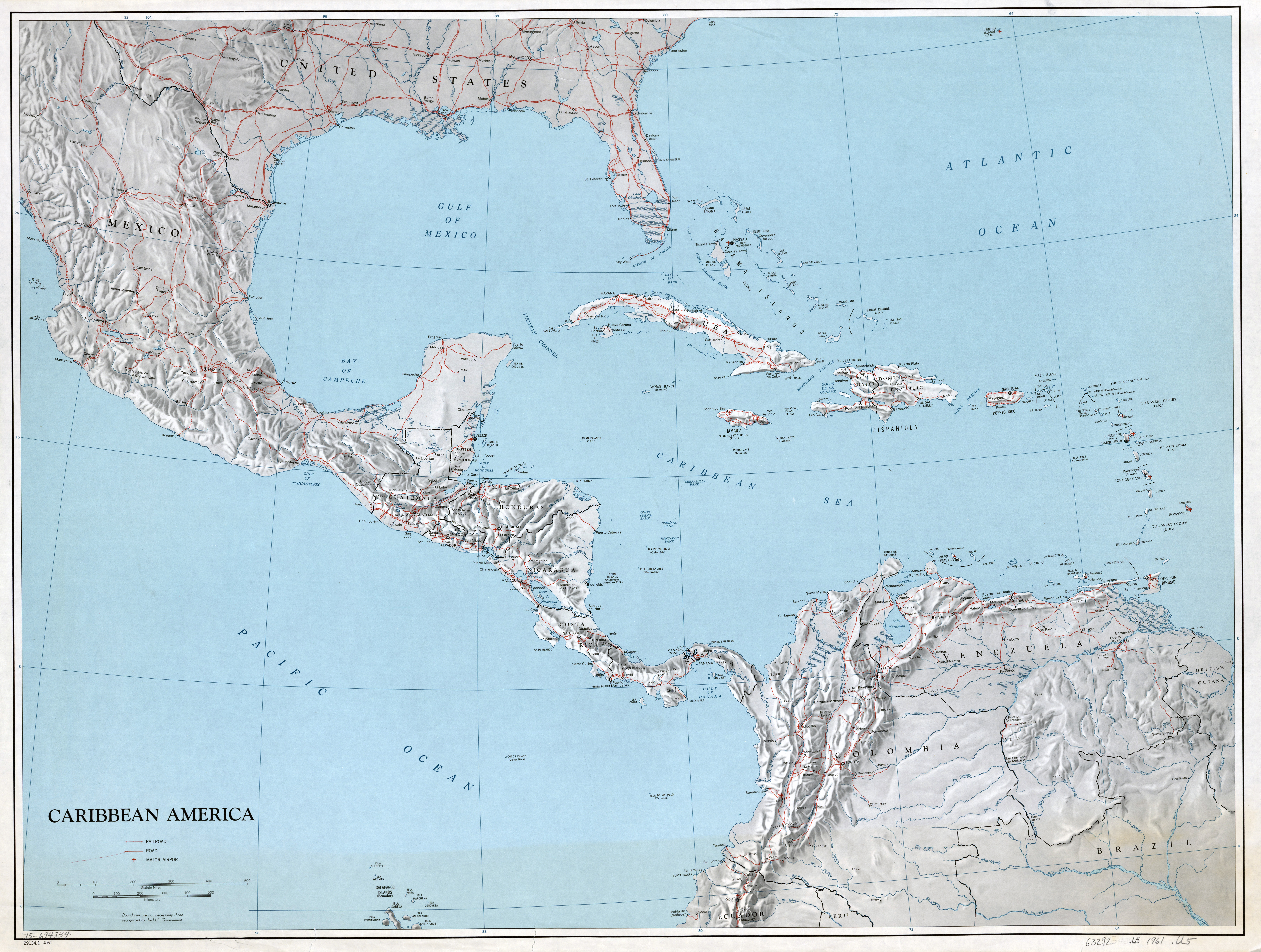 Large scale political map of the Caribbean America with ...