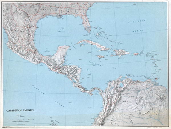 Large scale political map of the Caribbean America with relief - 1961.