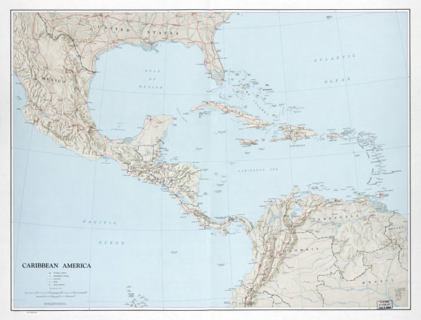 Large scale political map of the Caribbean America with relief - 1976.