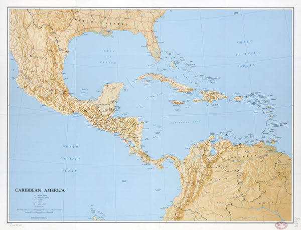Large scale political map of the Caribbean America with relief - 1986.