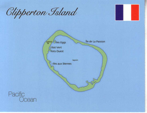Large detailed map of Clipperton Island.